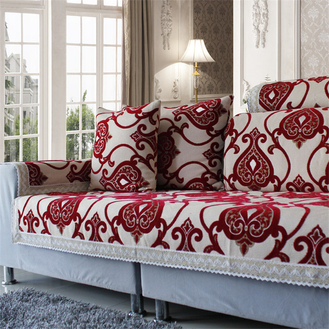 Joyous Red Sectional Sofa Covers Chenille Covers on Sofa Flocked