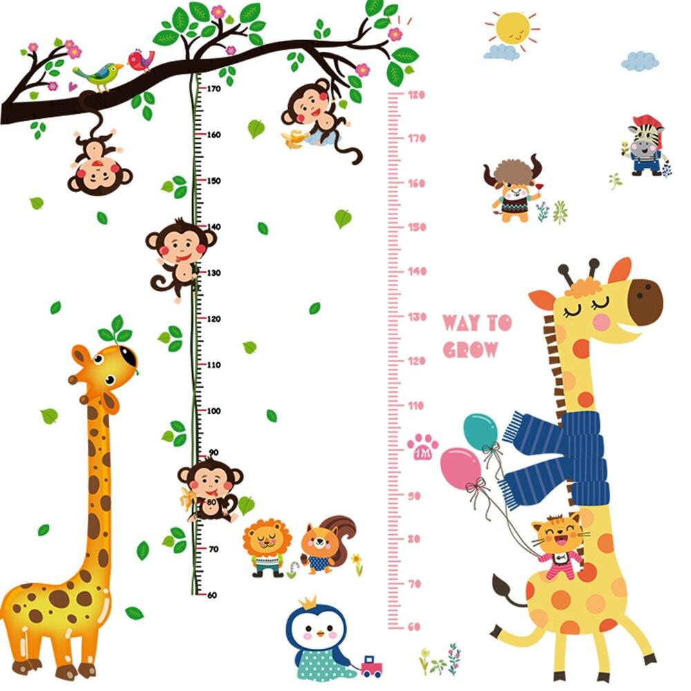 Мультфильм Высота Мера стены Стикеры для детей номеров роста винил Наклейки на стену съе ...