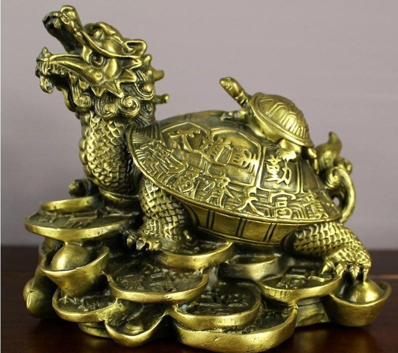 Chinese copper Brass Feng Shui luck Wealth Money Coin Dragon turtle statueChinese copper Brass Feng Shui luck Wealth Money Coin Dragon turtle statue