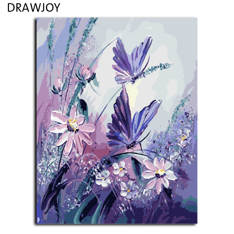 DRAWJOY Frameless Pictures Painting By Numbers Handpainted On Canvas DIY Oil Painting By Numbers 40*50cm Butterfly G406(China)