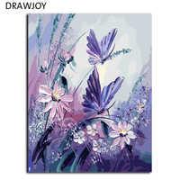 DRAWJOY Безрамные Картины живопись по номерам ручная роспись на холсте DIY картина маслом по номерам 40*50 см Бабочка G406