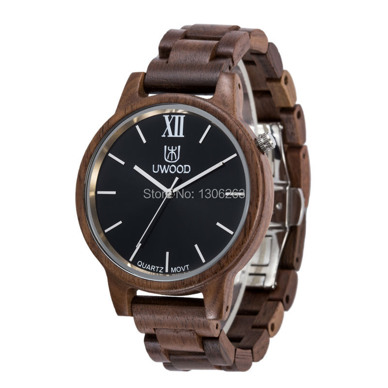 Montre en bois design unique pour homme grand designer de luxe grande montre en bois populaire grande montre en bois pour homme