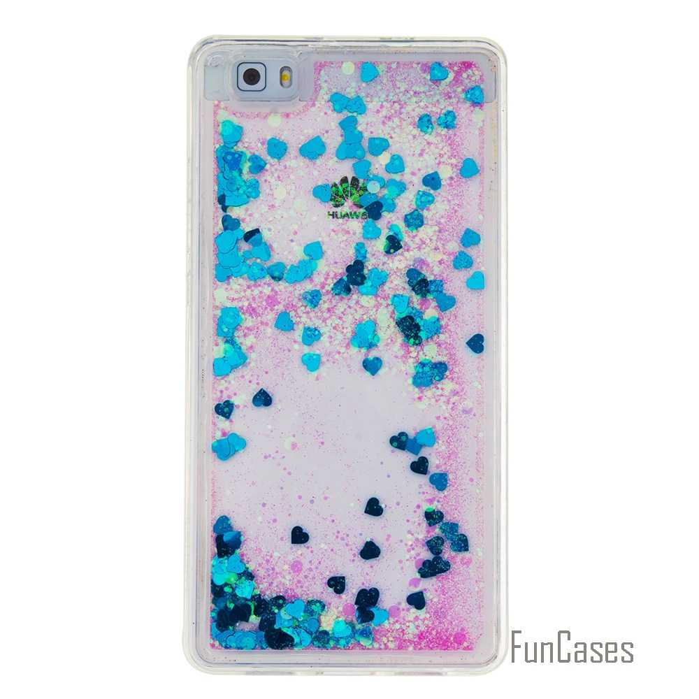 Coque Bling Love Heart Stars Soft TPU Phone Case Cover For Huawei P8 Lite Funda Quicksand Phone Case For Huawei Ascend P9 Lite #