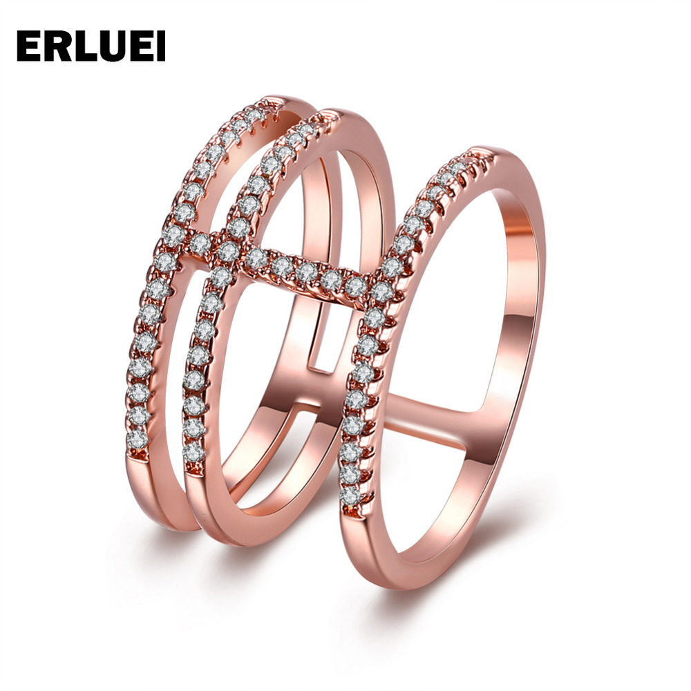 Korean Style Popular Austrian Crystal silver Rong Long Ring Fashion Shiny White Rhinestone Rose Gold Women Girls Metal Jewelry ...