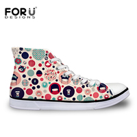 FORUDESIGNS 2017 Fashion Women Spring Summer High Top Vulcanized Shoes Casual Floral Pattern Female Lace Up