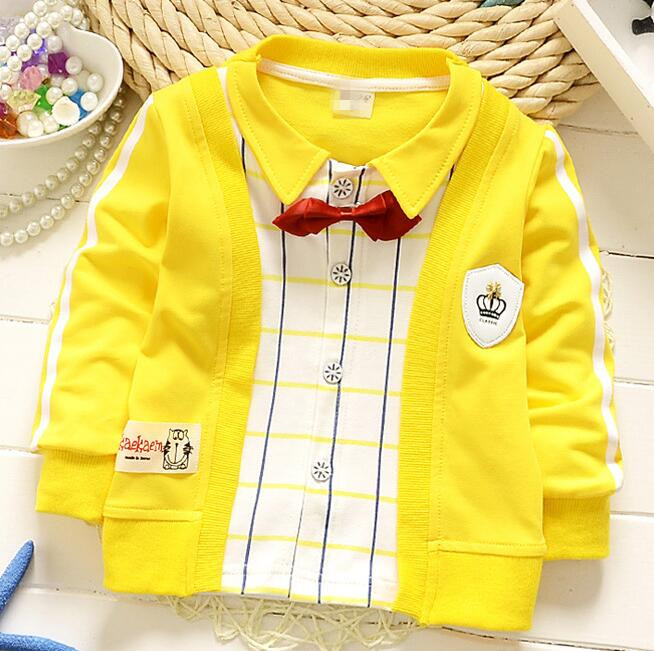 (1piece /lot) 100% cotton 2016 cute boy gentleman bear baby outerwear