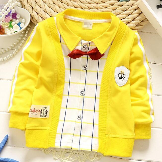 (1piece /lot) 100% cotton 2016 cute boy gentleman bear baby outerwear