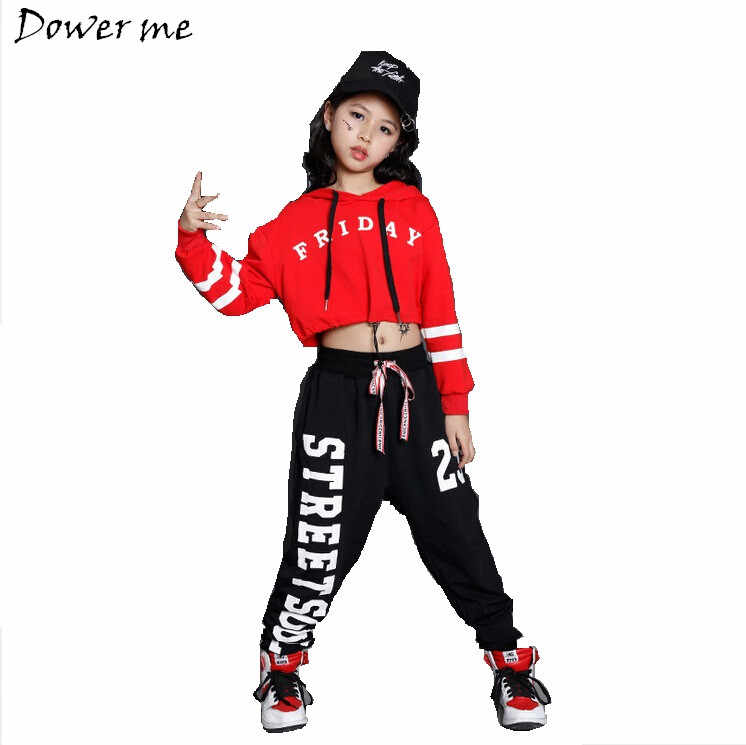 Niñas Niños suelta Jazz hip hop danza Sets competencia traje con capucha  camisa Tops Pantalones adolescentes 1293d6d9481