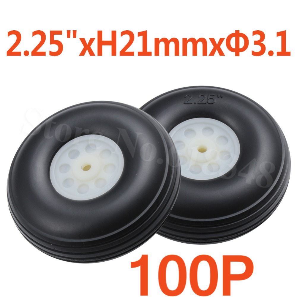 "100pcs 2.25""/ 57mm PU Rubber Tail Wheels Nylon Hub Thickness:21mm Axle hole: 3.1mm RC Airplane Parts Replacement"