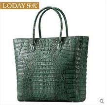 Ledai high – end real crocodile leather women handbag new fashion crocodile women bag green