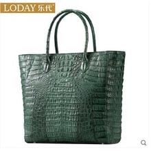 Ledai high end real crocodile leather women handbag new fashion crocodile women bag green