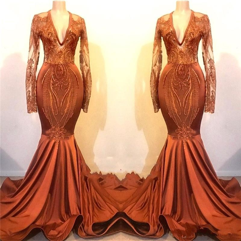 African Sheer Long Sleeves Mermaid Orange   Prom     Dresses   2019 V Neck Appliques Sweep Train Formal Party Evening Gowns