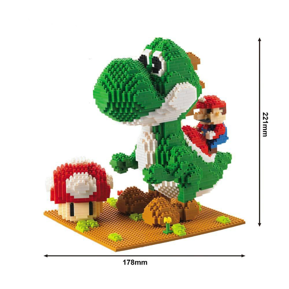 Bloques de construcción modelo serie Mario Bros Yoshi juguetes de dibujos animados figuras de Anime ensamblado Mini ladrillo juguetes educativos para niños