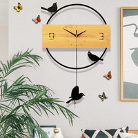 Living Room Creative Modern Simple Nordic Quartz Quiet Personal Home Fashion bird Clock farmhouse decor metal wall decorations