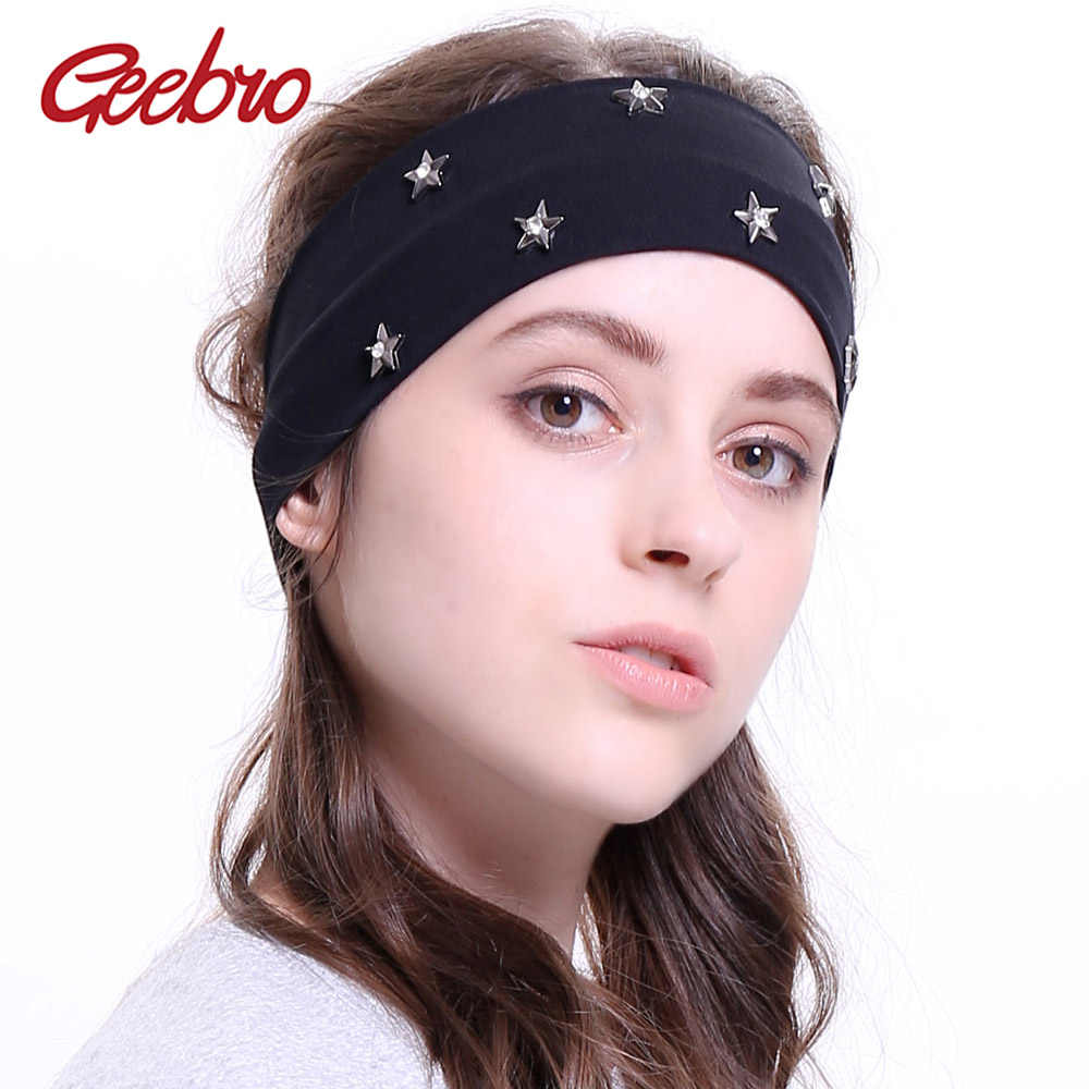 Geebro Women s Star Rhinestones Headband Fashion Elastic Flat Stretch  Headbands for Girls Handmade Hair Band Head 464836530f2