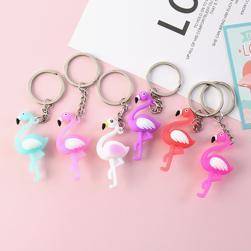 New Cute Flamingo Keychain Women Key Ring Gift Porte Clef Animal Key Chain