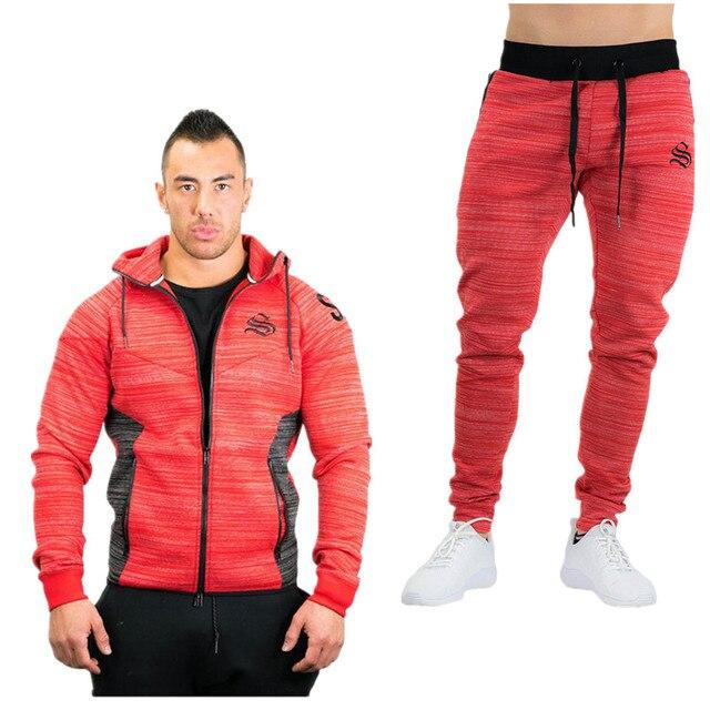 ed81ed7f7d066a 2017 Nova Moda Primavera Outono Men Sportswear Aptidão 2 Peça Set Suit  Sporting Homens Roupas Jaqueta