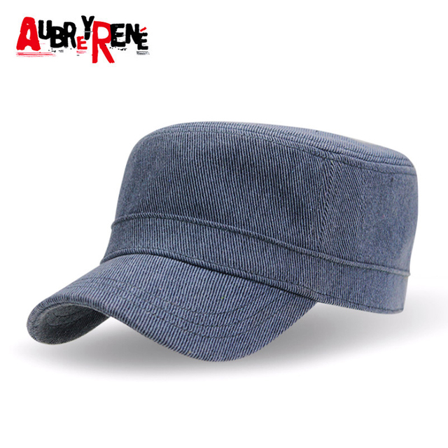 AUBREYRENE Vintage Flat Mens Caps Adjustable Fitted Outdoor Cap Casual Military  Hats For Men Patrol Cap 5a9602bc408