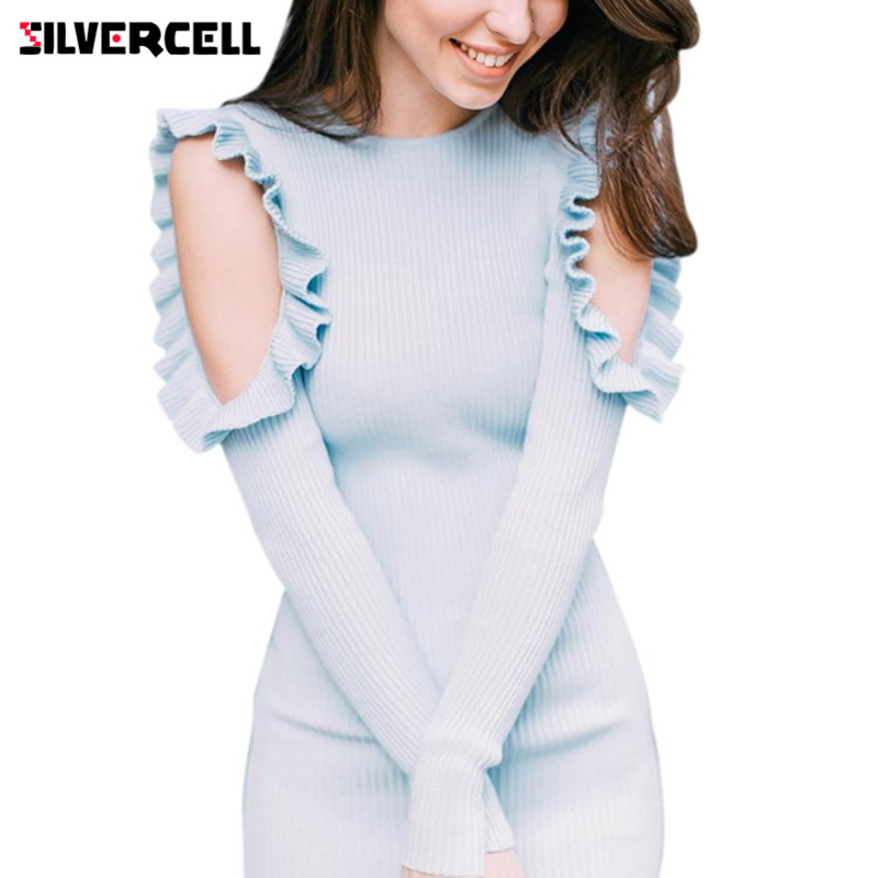 SILVERCELL Fashion Long Sleeve Off Shoulder Mini Dress Women O Neck Slim Bodycon Knitted Sweater Party Night Mini Dresses sweet off the shoulder long sleeve bodycon sweater dress for women