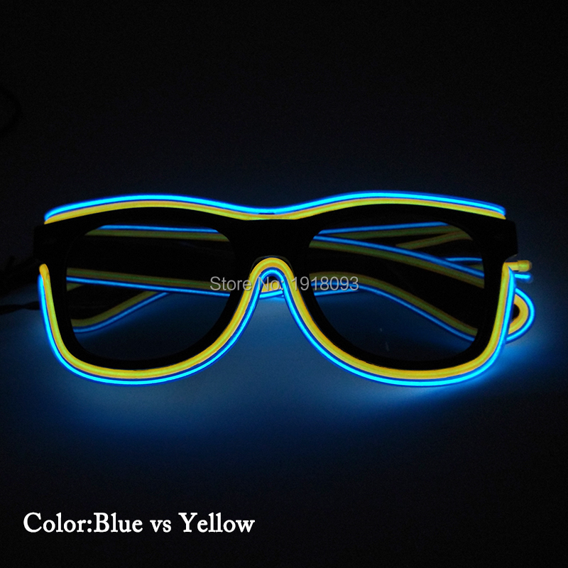 10pieces with dark lens EL Wire Glasses + DC-3V Steady on Drive Glasses Fro DJ Party Holiday Lighting Glasses