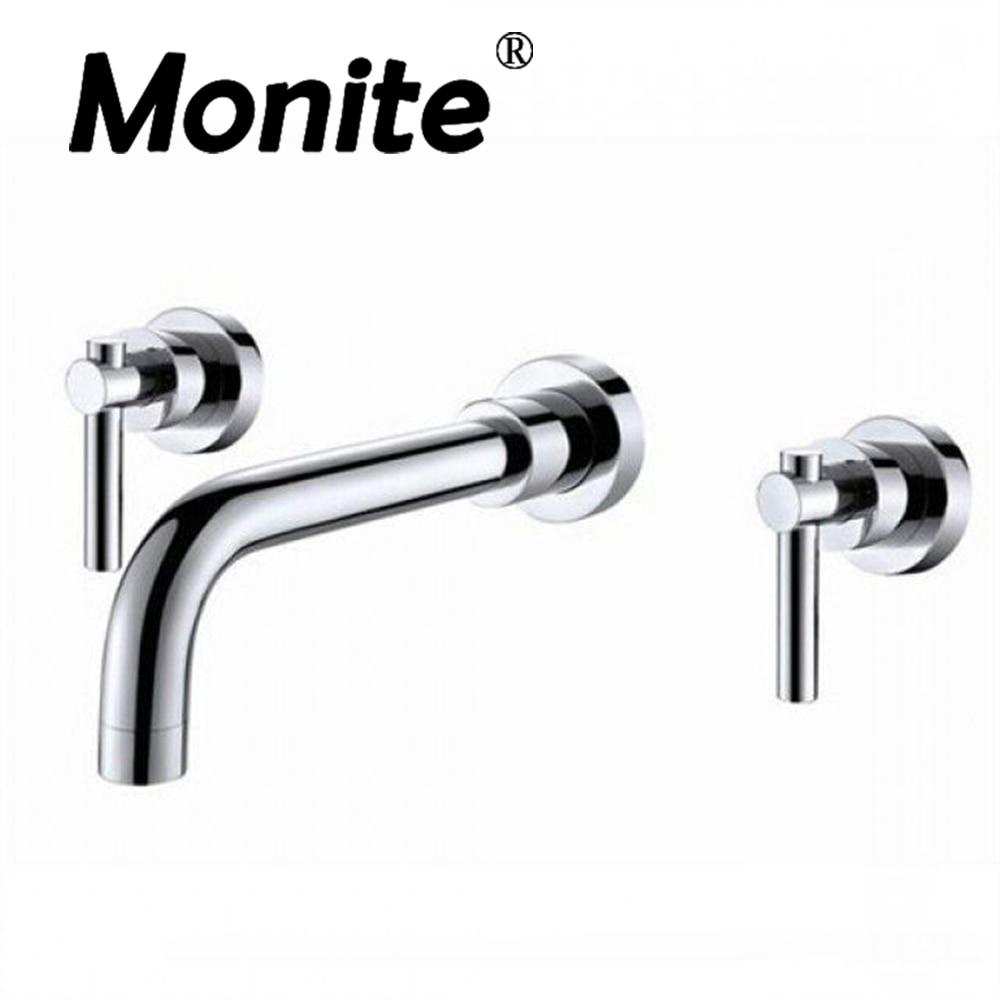 3 Piece Set Chrome Brass Wall mounted Mixer Tap Bathtub Faucet Two Handles Mixer Tap Faucet