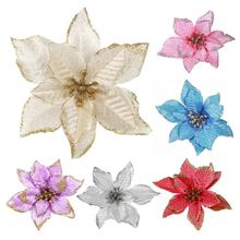 15CM Golden Edge Simulation Christmas Flower for Wedding Party - Garland Decoration Multicolor Plastic Sticky Powder