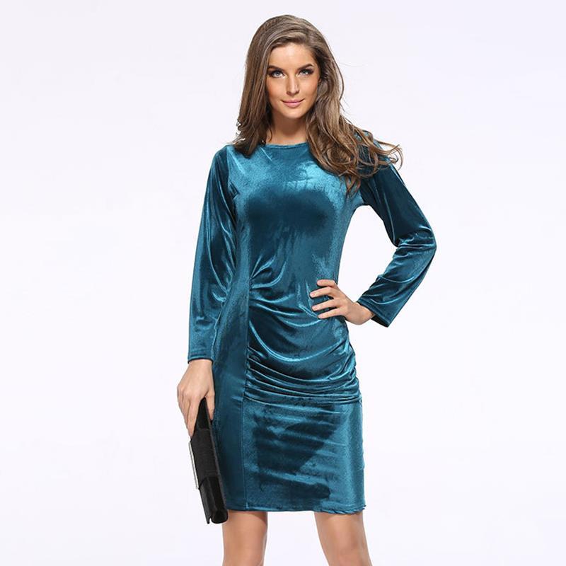 bf10ecf14a4 Fashion Women Sexy Bodycon Party Dresses Long Sleeve Solid Dresses LJ7808E