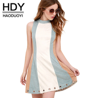 Haoduoyi Womens Summer Contrast Color Zipper Bodycon Slim Short Dress Sexy Party A Line Sleeveless Mini