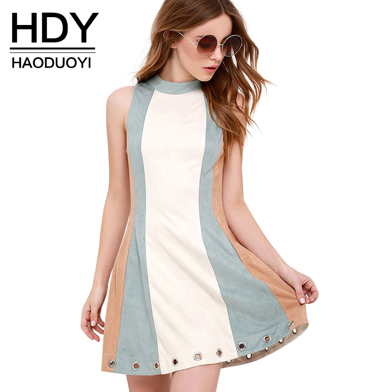 HDY Haoduoyi Summer Contrast Color Bodycon Dress  Party Mini Dress Women Sleeveless Eyelet Detail High Collar Dress