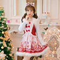 Princess Sweet Lolita White Dress Candy Rain Japanese Design Long Sleeve Slim Bow Printing Wool Dress