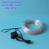 5 Metre 5.0mm Beyaz EL Kablo Halat Neon Led Şerit Dize Tatil Aydınlatma Yanıp Sönen Diy Zanaat, Doğum Günü Şapka DC5V-USB Dönüştürücü tarafından