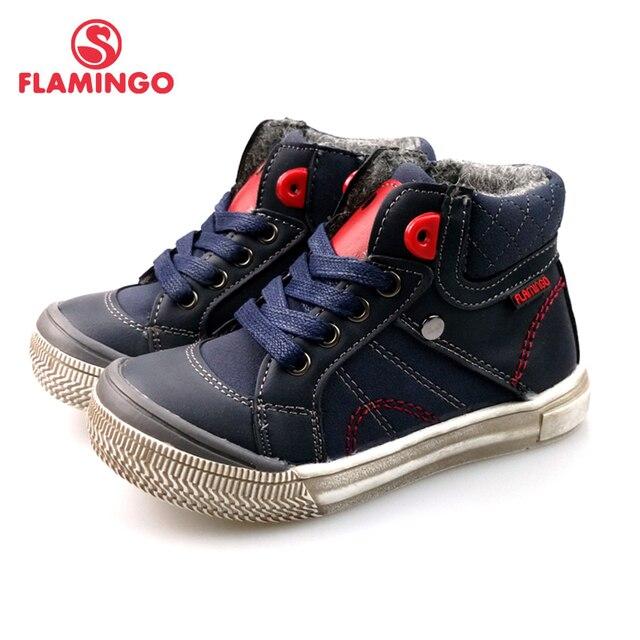 Осенняя обувь на шнуровке и молнии с изображением фламинго, Уникальная подошва, теплые Нескользящие ботинки, размер 24-30, детская обувь для мальчиков, бесплатная доставка, 82B-BNP-0966
