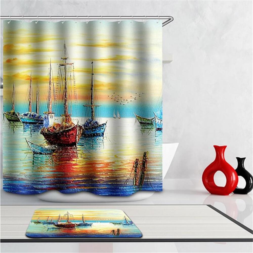 Fashion Scenery Shower Curtains 3d Modern Tower Bridge Boat Fabric Creative Bath Curtain Paris Waterproof Bathroom Hook In From Home