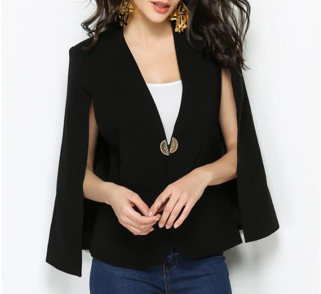 Manches V Dame Unique Bouton Châle Femme 2018 Vestes Bureau Élégant Manteau Col Veste De Black Automne Manteaux Travail Slim CtnwZq68w