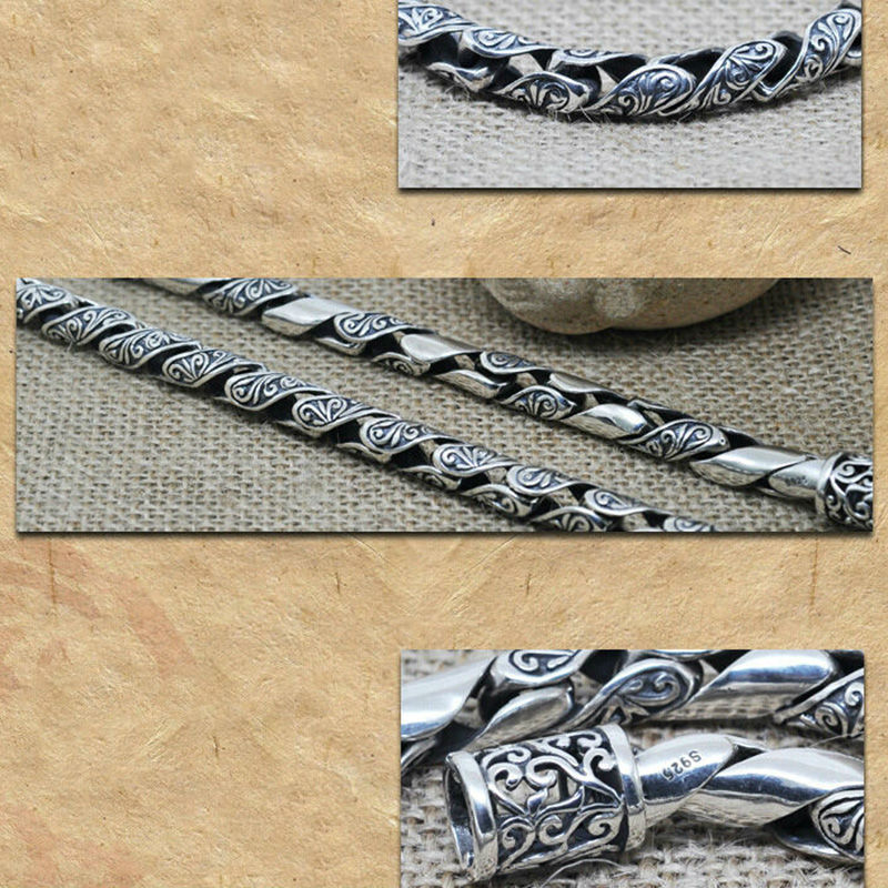 100% Настоящее серебро 925 пробы браслеты для мужчин Ретро Черный Дизайн Твердые серебряные ювелирные изделия настоящее Серебро S925 Серебряный мужской браслет HYB22 - 2
