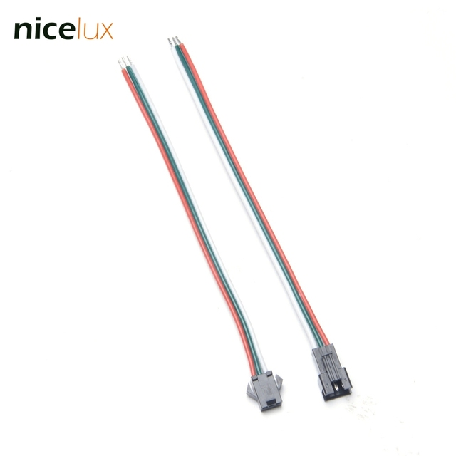 5pairs 3 pin 20awg wire jst connector male female plug socket connecting  cable wire for ws2811