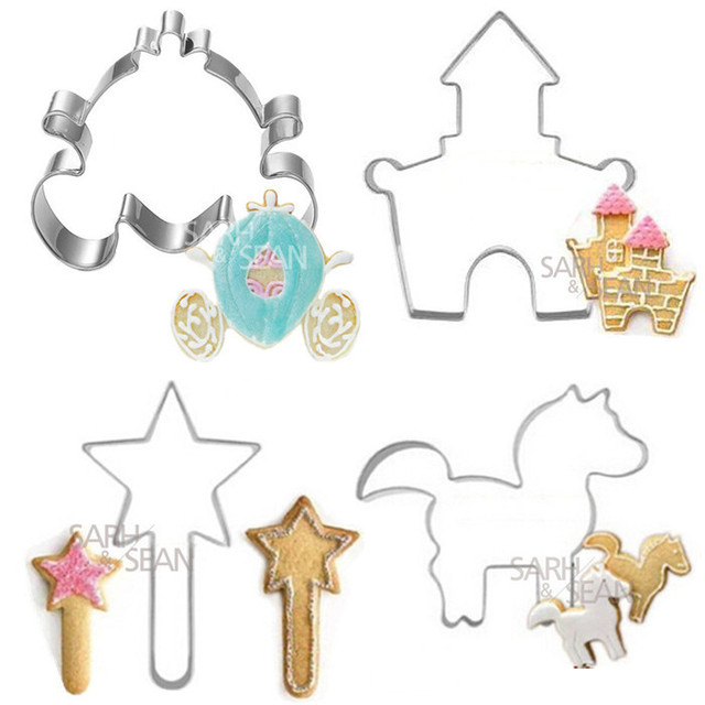 4pcsset metal stainless steel cookie biscuits cutters decorations of princess series castle magic stick