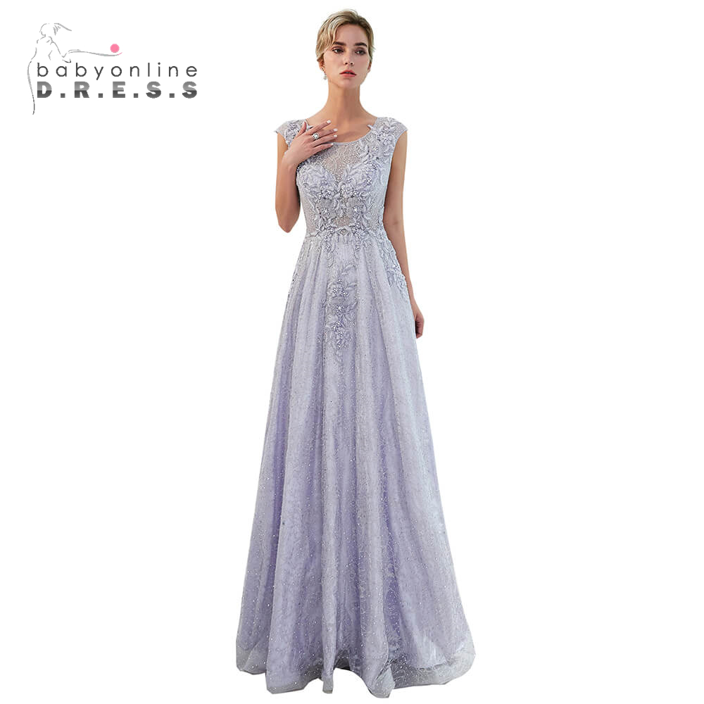 Vestidos De Festa longo Charming Flower Appliques Long   Prom     Dress   2019 Elegant Pearls Lavender Formal Party   Dress