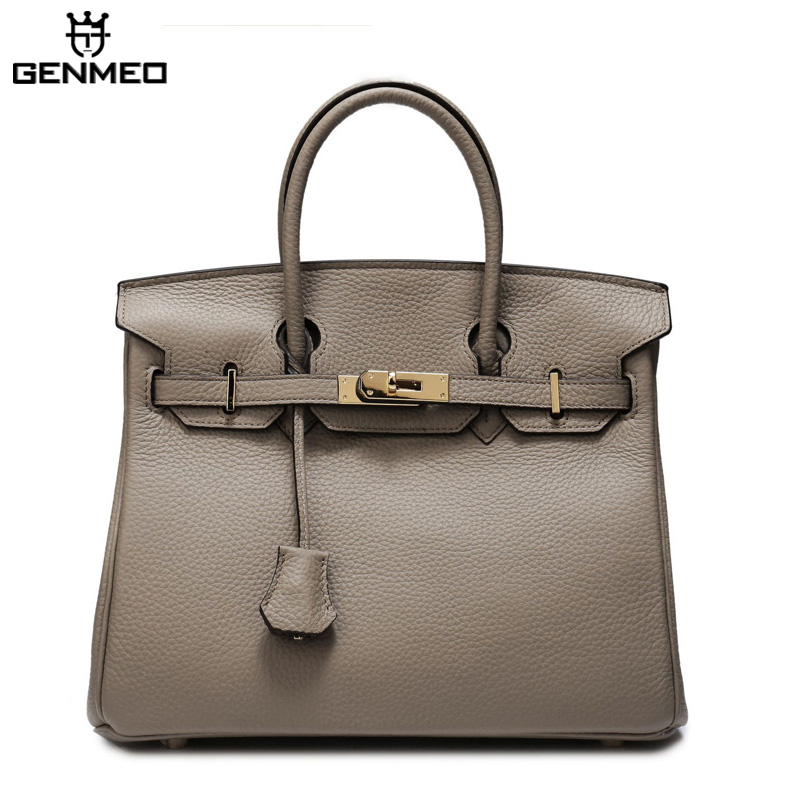 GENMEO New Arrival Genuine Leather Handbag Women 30cm Fashion Cow Leather Shoulder Bag Female Famous Design Tote Bags BolsaGENMEO New Arrival Genuine Leather Handbag Women 30cm Fashion Cow Leather Shoulder Bag Female Famous Design Tote Bags Bolsa