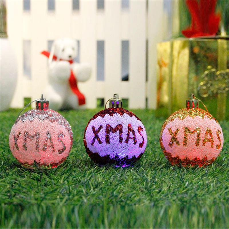 3LED Merry Christmas Tree Bulb Light Ball Ornament Xmas Garden Festival  Decor 18X6cm Xmas Party Christmas Tree Decoration