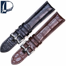 Pesno Double Sided Crocodile Leather Watch Strap 20mm Black Brown Watch Band Men Watch Accessories for