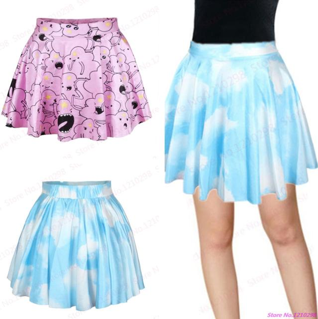 d43ed08435 Hot Sale Blue Clouds Sky Mini Skirt 3D Printed Pastel Clouds Women Pleated  Skirts Leisure Sports Slim Kilts Femininas Saias