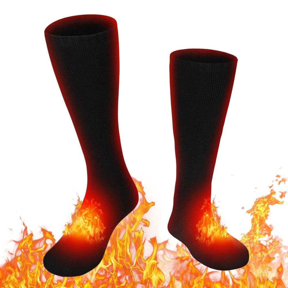 Black Men Women Winter Socks 3 7V Rechargeable Battery Electric Heated Socks for Snowmobile Snow Shoveling