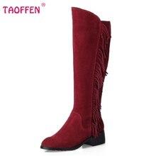 Women Real Genuine Leather Low Heel Knee Boots New Fashion Round Toe Tassel Botas Warm Winter Footwear Shoes Size 33-46 N00187