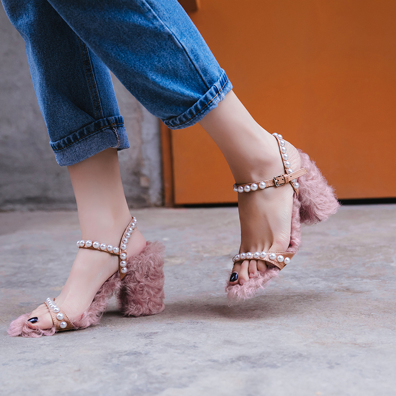 Luxury Sheep Fur Ladies High Heel Sandals Pearl Block Heeled Summer Shoes Comfy Women Sandals Pink