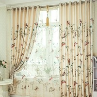 Quality rustic exquisite butterfly embroidered curtain fabric window screening embroidered