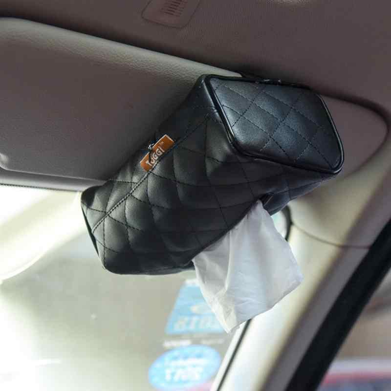 Kulit PU Lembut Suspensi Persegi Panjang Kotak Tisu Penutup Dudukan untuk Mobil (Beige)