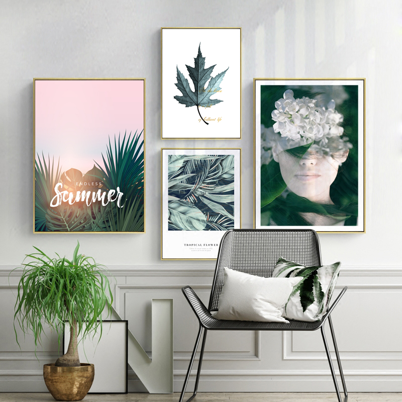 Nordic Decorative Painting Green Leaves Tropical Plants Beauty Characters Creative Combination Picture Wall