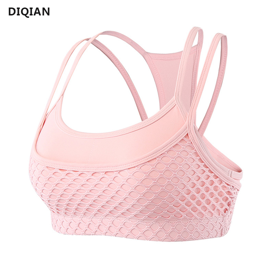 Women Pink Sports Bra Mesh Cropped Top Strap Yoga Top Nylon Push Up Running Bras Double Layer Athletic Fitness Vest Gym Clothing 1