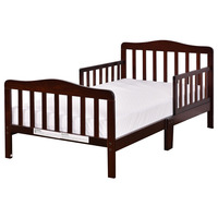 Baby Toddler Bed Kids Children Wood Bedroom Furniture W Safety Rails Espresso BB4596BN